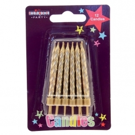 Gold Party candles 12pcs