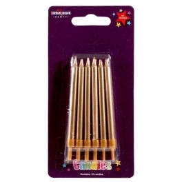 Straight Candles Gold 12pcs
