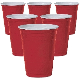 Extra Value Red Plastic Party Cups 16 Oz - 6pk