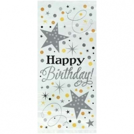 Glittering Birthday Cellophane Bags 20ct