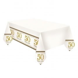 Gold Anniversary Plastic Tablecover