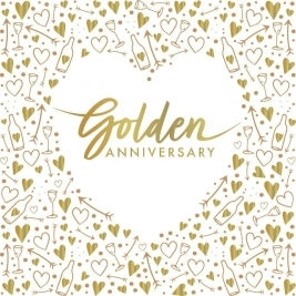 Golden Anniversary Foil Stamped Lunch Napkins 3 ply - Pack of 16