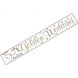 Golden Wedding Anniversary Wall Banner