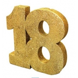 Number 18 Gold Glitter Table Decoration