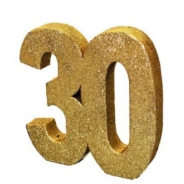 Number 30 Gold Glitter Table Decoration