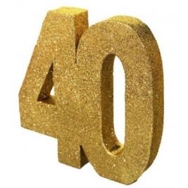 Number 40 Gold Glitter Table Decoration