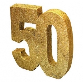 Number 50 Gold Glitter Table Decoration