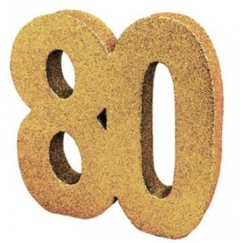 Number 80 Gold Glitter Table Decoration
