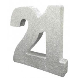 Number 21 Silver Glitter Table Decoration