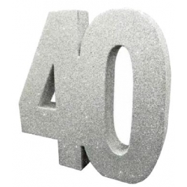 Number 40 Silver Glitter Table Decoration