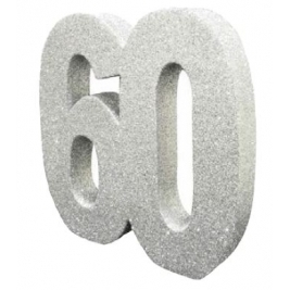 Number 60 Silver Glitter Table Decoration