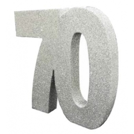 Number 70 Silver Glitter Table Decoration