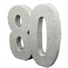 Number 80 Silver Glitter Table Decoration