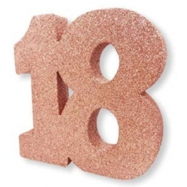 Number 18 Rose Gold Glitter Table Decoration