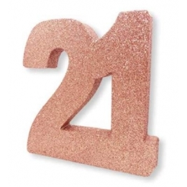 Number 21 Rose Gold Glitter Table Decoration
