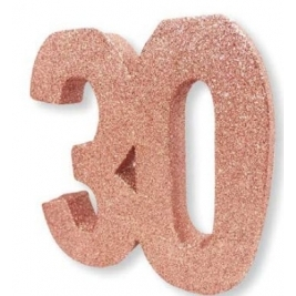 Number 30 Rose Gold Glitter Table Decoration