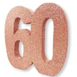 Number 60 Rose Gold Glitter Table Decoration
