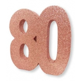 Number 80 Rose Gold Glitter Table Decoration