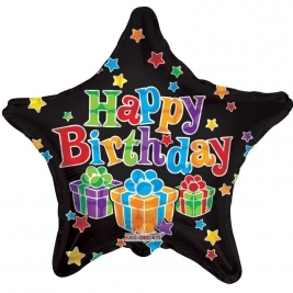 Happy Birthday Black Star with gifts 18inch