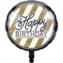 Happy Birthday Black and Gold Foil Balloon