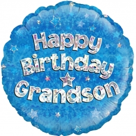 Happy Birthday Grandson Holographic Foil Balloon 18