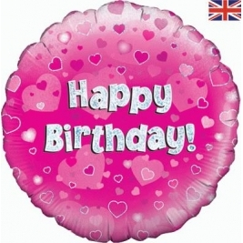 Happy Birthday Pink Holographic Foil Balloon 18 Inches