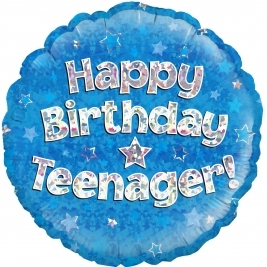 Happy Birthday Teenager Blue Holographic Foil Balloon 18