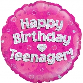 Happy Birthday Teenager Pink Holographic Foil Balloon 18