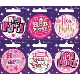 Hen Party Mixed Small Badges 6pc Assorted