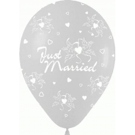 Just Married Crystal Clear Doves Heart Latex Balloons 11