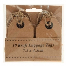 Kraft Luggage Tags 7.5cm x 4.5cm - 10