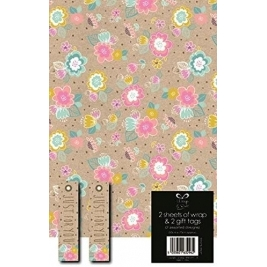 Manila Floral Wrap With Tags - Pack Of 2 Sheets And Tags