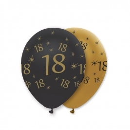 Number 18 Black and Gold Pearlescent Latex Balloons All Round Print - Pack of 6