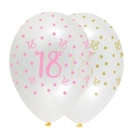 Number 18 Pink Chic Latex Balloons Crystal Clear All Round Print - Pack of 6