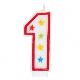 Number 1 Glitter Candle With Happy Birthday Cake Topper