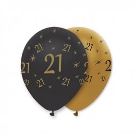 Number 21 Black and Gold Pearlescent Latex Balloons All Round Print - Pack of 6