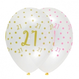Number 21 Pink Chic Latex Balloons Crystal Clear All Round Print - Pack of 6