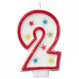 Number 2 Glitter Candle With Happy Birthday Cake Topper