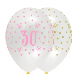 Number 30 Pink Chic Latex Balloons Crystal Clear All Round Print - Pack of 6