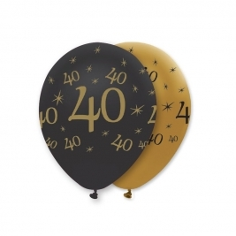 Number 40 Black and Gold Pearlescent Latex Balloons All Round Print - Pack of 6