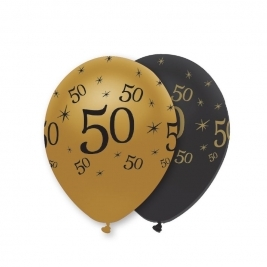 Number 50 Black and Gold Pearlescent Latex Balloons All Round Print - Pack of 6