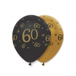Number 60 Black and Gold Pearlescent Latex Balloons All Round Print - Pack of 6
