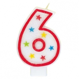 Number 6 Glitter Candle With Happy Birthday Cake Topper