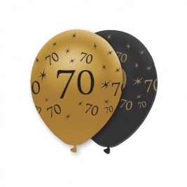Number 70 Black and Gold Pearlescent Latex Balloons All Round Print - Pack of 6