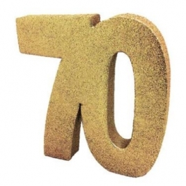 Number 70 Glitter Table Decoration Gold