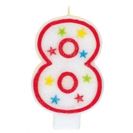 Number 8 Glitter Candle With Happy Birthday Cake Topper