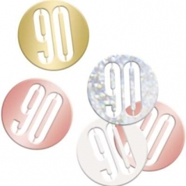 Number 90 Glitz Rose Gold Birthday Confetti