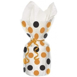 Orange & Black Polka Dots Cello Party Bags with Twist Ties - Pack of 20