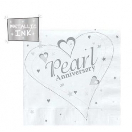 Pearl Anniversary Metallic Lunch Napkins 3 Ply