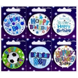 Pack of 6 Happy Birthday Boy Small Mixed Badges